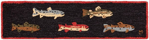 Wool River Run Fish Rug 1'x4'