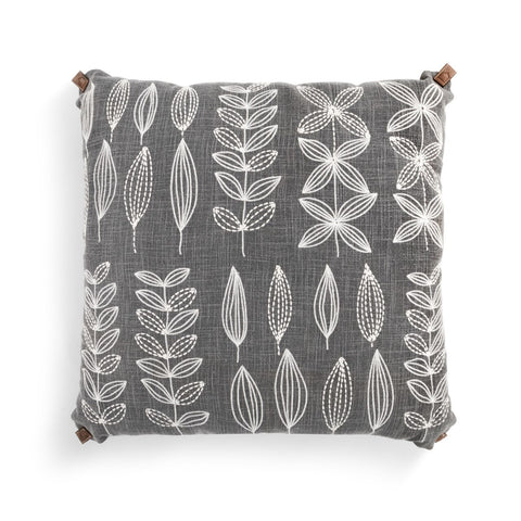 Embroidered Grey Pillow