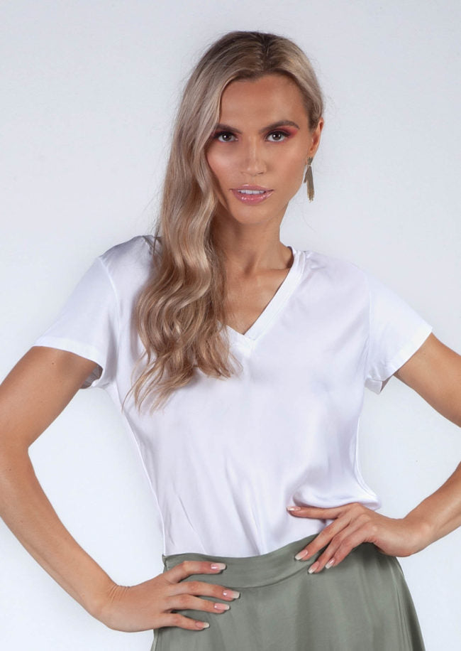 Zenara Aysha Satin V-neck T-shirt!!! THREE COLORS!!!