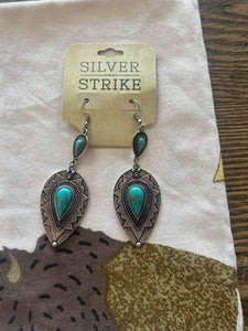 Silver Strike Faux Turquoise Earrings!!!