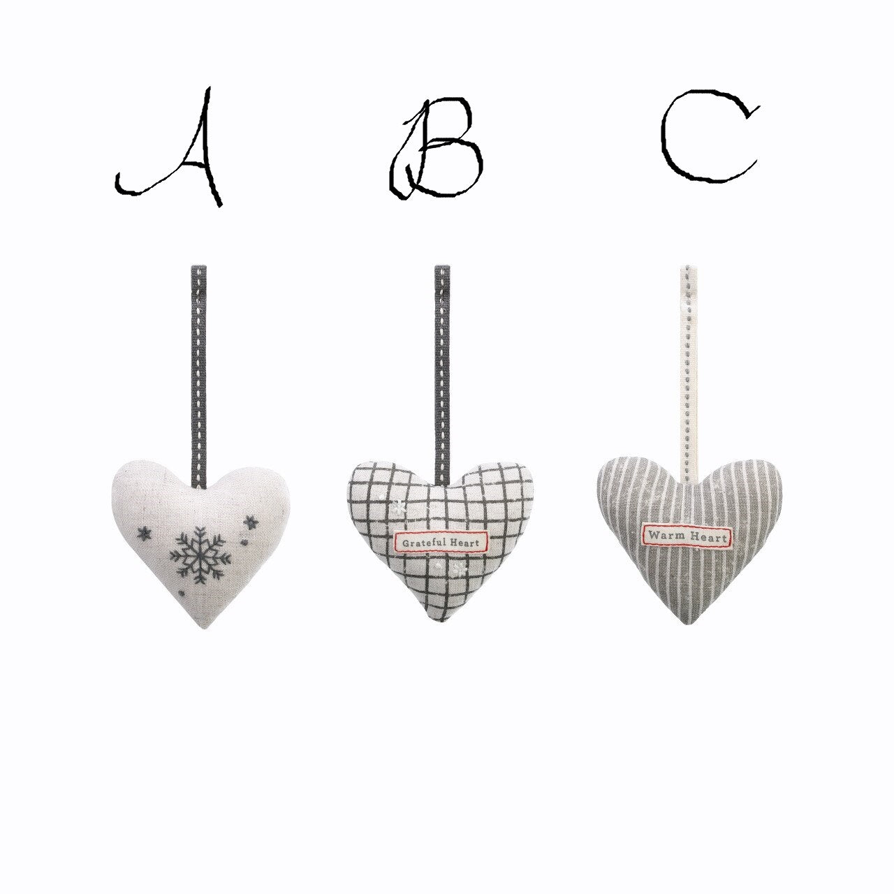 Snow Day Fabric Heart Ornaments Set! Three Styles!