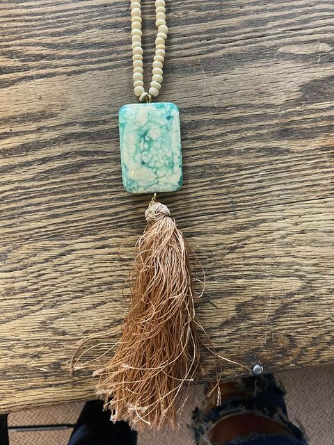 Faux Stone and Tassel Necklace