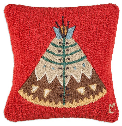 Teepee II Hooked Wool Pillow
