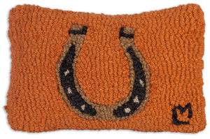 Texas Horseshoe Hooked Wool Pillow