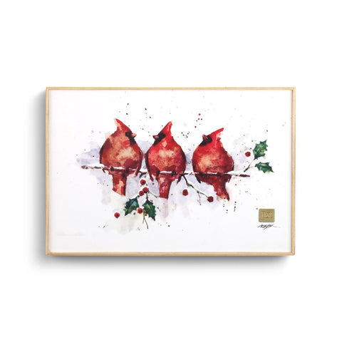Three Round Cardinals 8x12 Wall Art
