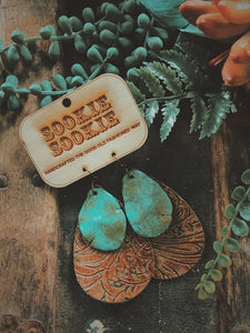 Sookie Sookie Turquoise Slab on Tooled Peanut Leather Earrings