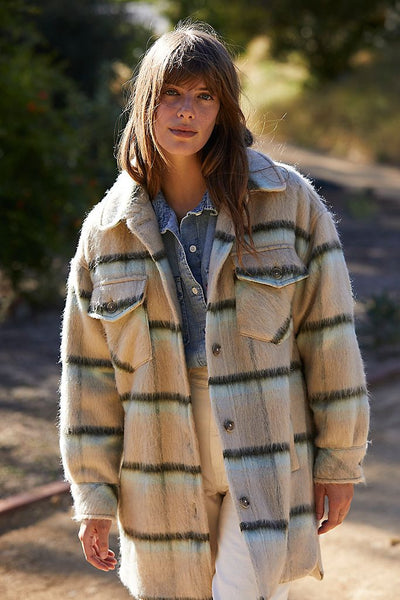 Free People Vienna Brushed Wool Shirt Jacket