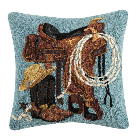 Western Styles Hooked Wool Pillow