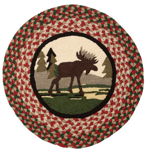 Wild Moose Braided Hooked Wool Rug