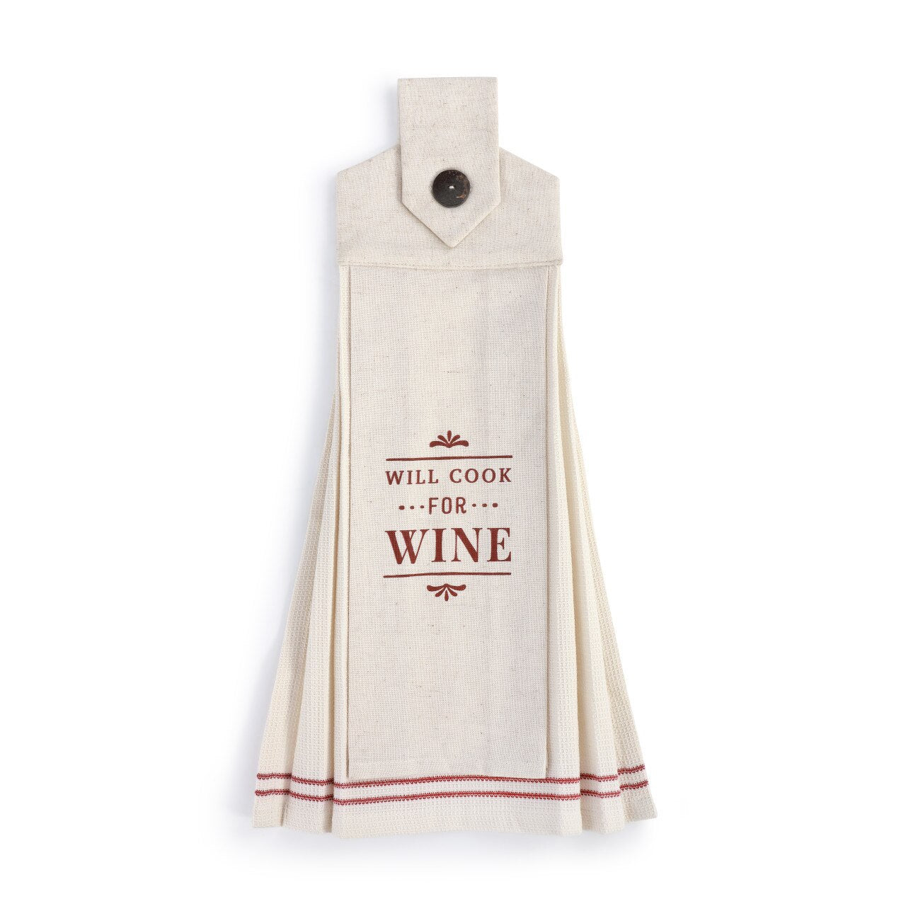 Will Cook for Wine Button Loop Tea Towel