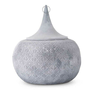 "25"" Round Gray Metal Moroccan Lantern w/Punched Mandala Pattern!  PICK UP ONLY!"