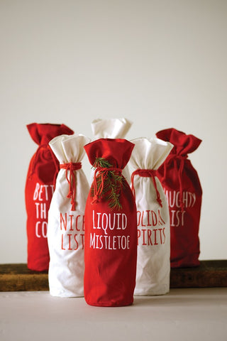 Fabric Drawstring Wine Bag w/ Words, Red & White! SIX Styles!!