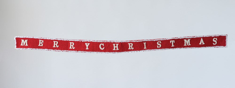 "Red & Cream Wool Felt Banner ""Merry Christmas"""