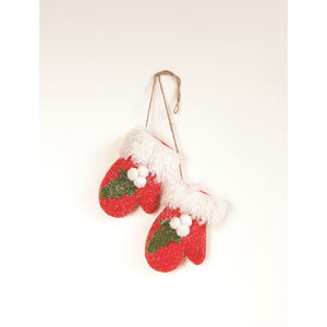 Red Felt Mitten Pair Ornament w/ Holly