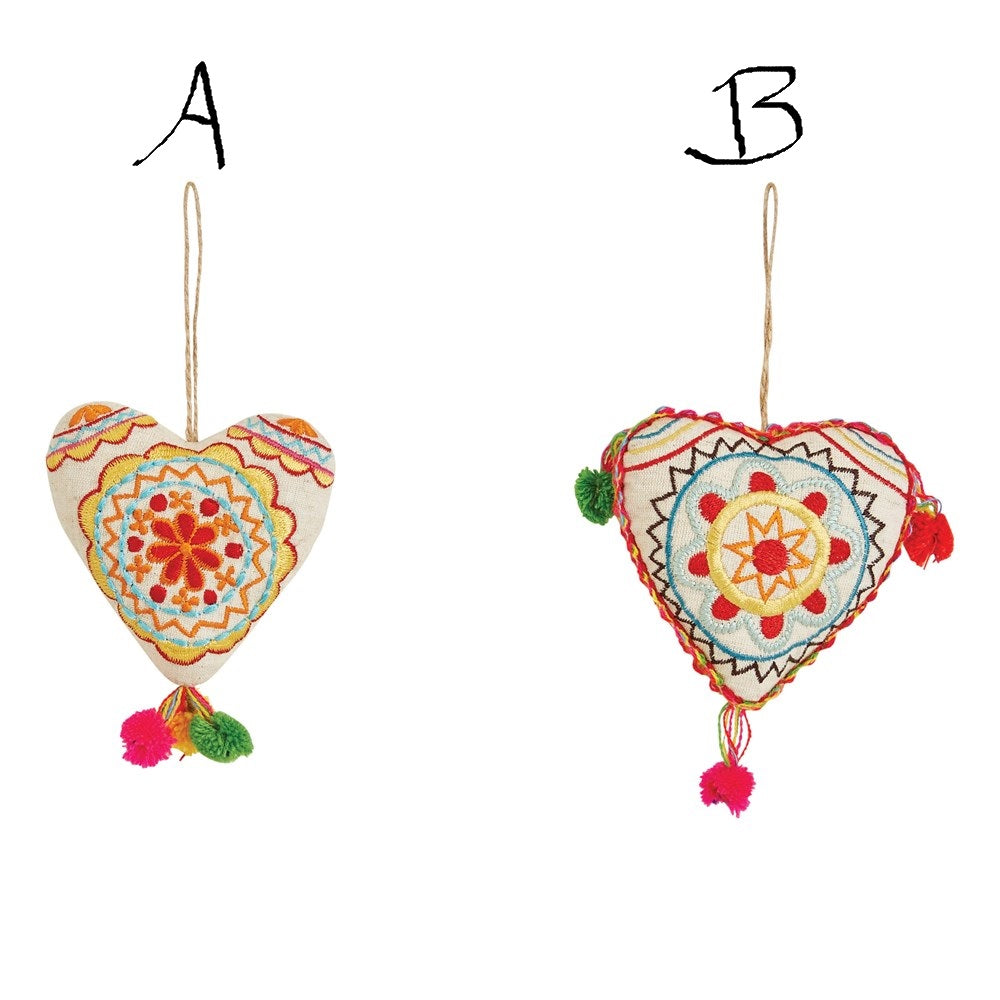 Embroidered Fabric Heart Ornament w/ Pom Poms! TWO Styles!