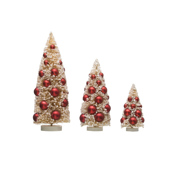 Bottle Brush Trees w/ Ornaments on Wood Bases 9""