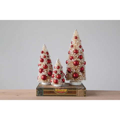 Set of THREE Bottle Brush Trees w/ Ornaments on Wood Bases