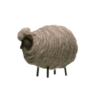 Large Gray Wool Felt Sheep