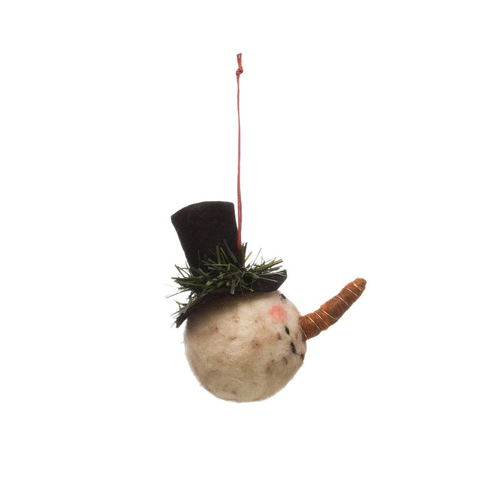 Wool Felt Snowman Head w/ Top Hat Ornament