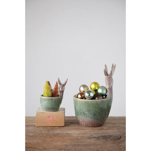 Stoneware Deer Container, Reactive Glaze, Green (Each One Will Vary)