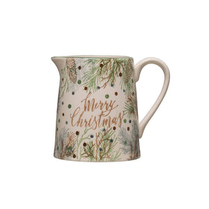 Merry Christmas Stonewear Pitcher