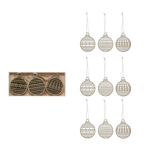 Wood Laser Cut Ornaments, Set of 9