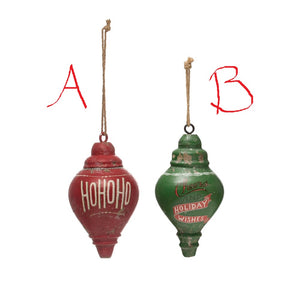 Wood Finial Ornament w/ Saying! TWO Styles!