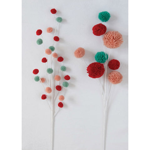 "28""H Pom Pom Branch, Multi Color - BIG"