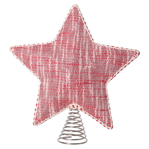 Red & White Woven Cotton Star Tree Topper w/ Trim