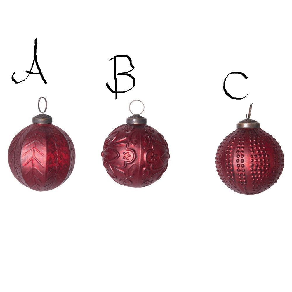 Matte Red Round Embossed Glass Ball Ornament! THREE Styles!