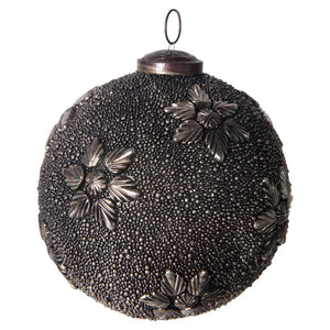 Antique Gunmetal Finish Round Glass Ball Ornament w/ Metal Flowers