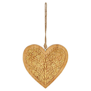 "10""H Hand-Carved Wood Heart Ornament w/ Gold Finish"