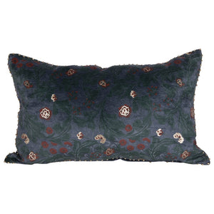 Cotton Floral Lumbar Pillow, Blue, Rose & Gold Color