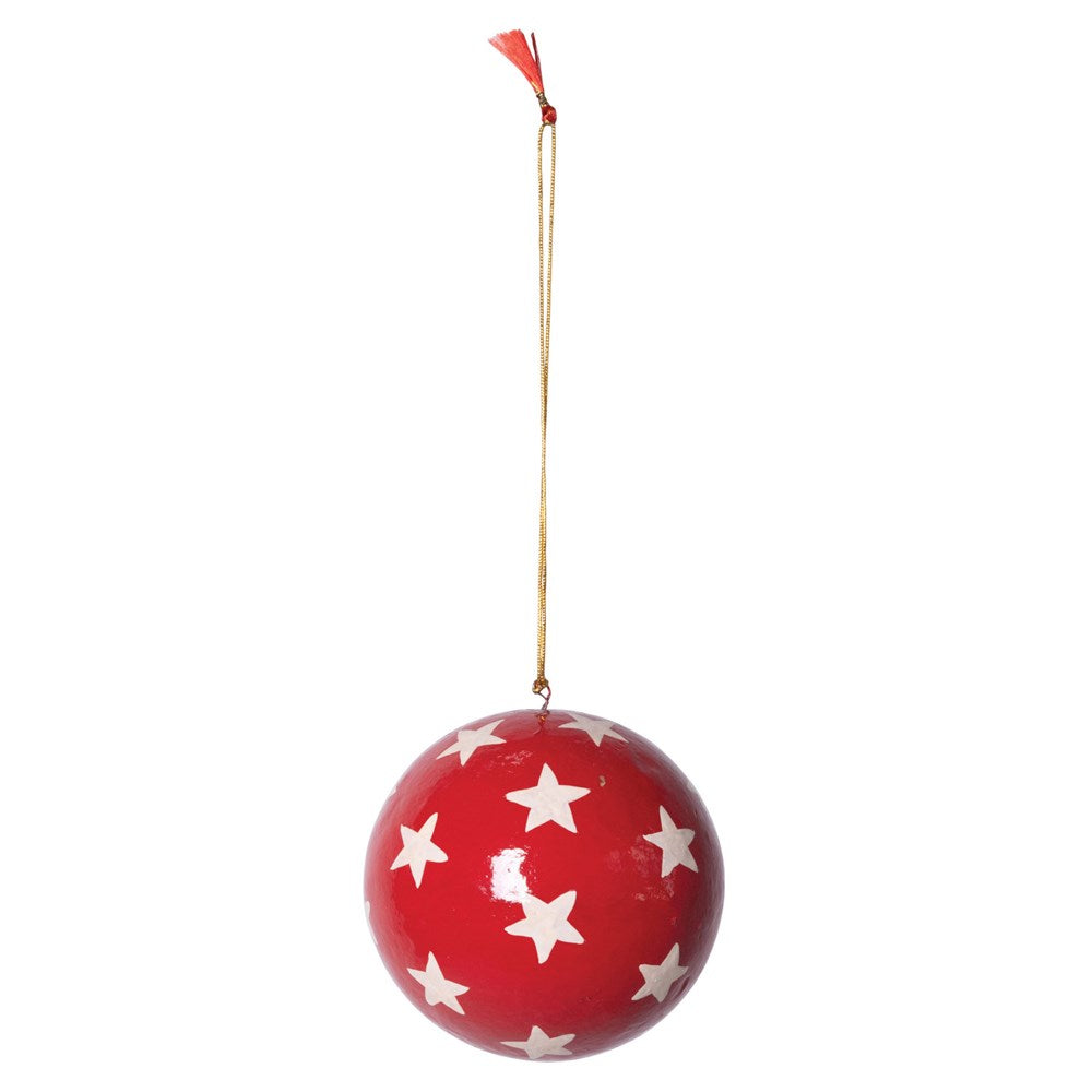 "4"" Round Hand-Painted Paper Mache Ball Ornament w/ Stars, Red & White"