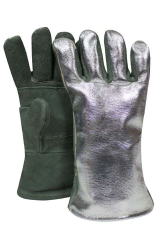 NSA Leather Glove with Aluminized Leather Back - (DJXG1788DBWLSP)