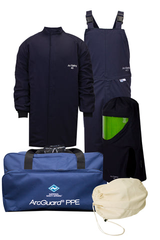 NSA ArcGuard® Compliance™ Arc Flash Kit with Short Coat & Bib Overall, No Gloves (KIT4SC40)