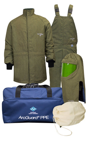 NSA ArcGuard® RevoLite™ Arc Flash Kit with Short Coat & Bib Overall, No Gloves (KIT4SCLT40)