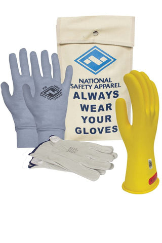 NSA Class 0 Rubber Insulating Voltage Glove Kit - Yellow (KITGC0)