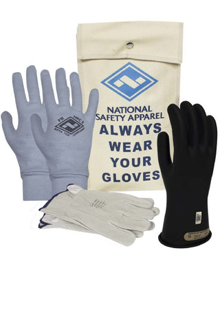 NSA Class 0 Rubber Voltage Gloves, Black (DWH110)