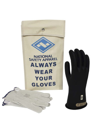 NSA Class 0 Rubber Insulating Voltage Glove Kit - Black ( KITGC0)