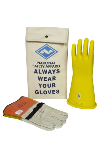 NSA Class 2 Rubber Insulating Voltage Glove Kit - Yellow (KITGC2)