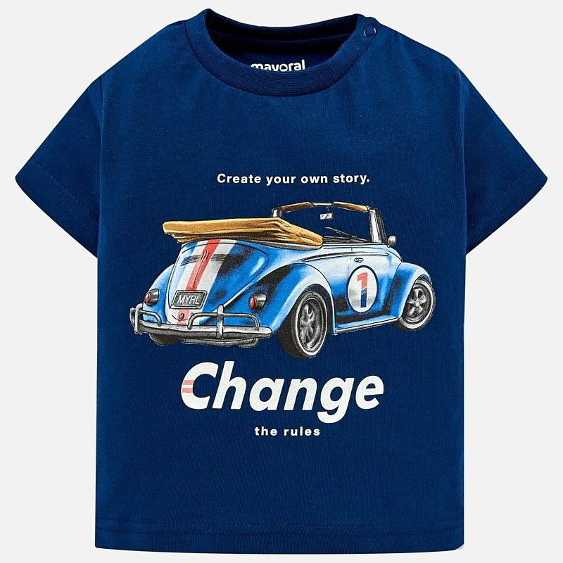 Boys Short Sleeved Car Print T-Shirt
