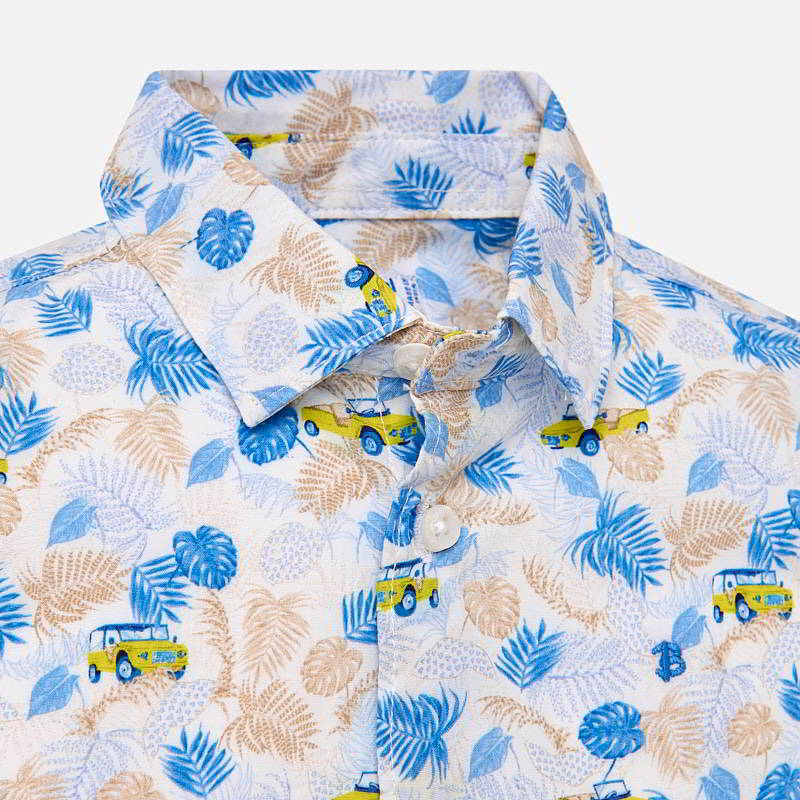 Boys Short Sleeved Patterned Shirt