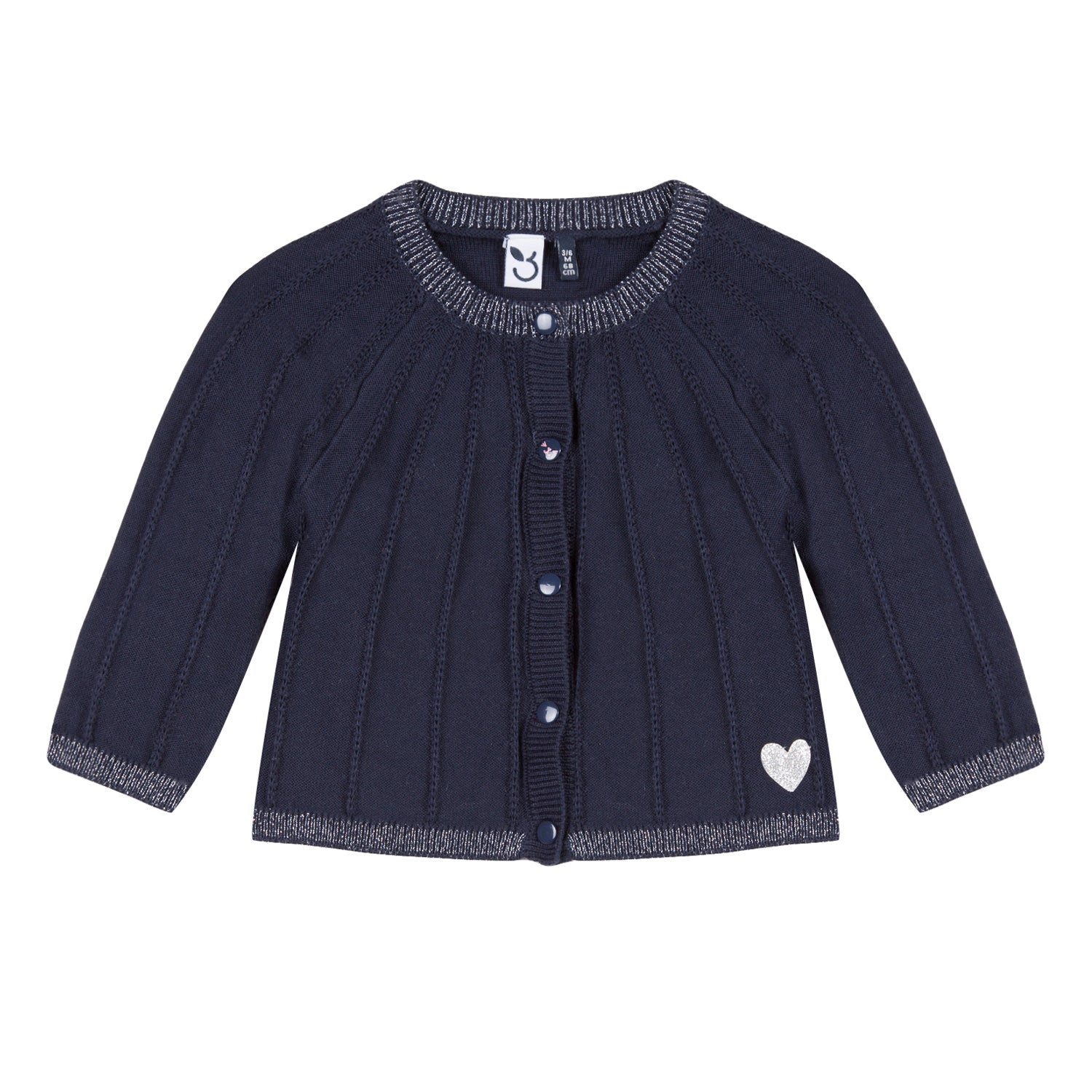 19feff8cf Baby   Toddler Girls Navy Cardigan With Silver Heart – House of Sofella