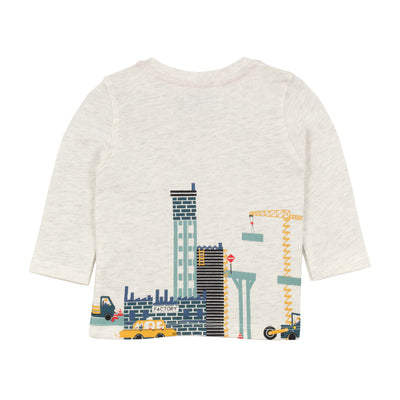 Jean Bourget long-sleeved, off-white cotton-jersey T-shirt is printed with a crisp urban landscape pattern of cranes.