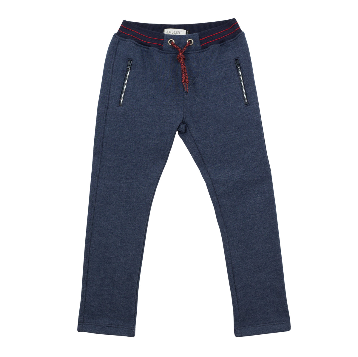 Jean Bourget indigo fleece jog is warm and practical. The elasticated belt is punctuated with red stitching.