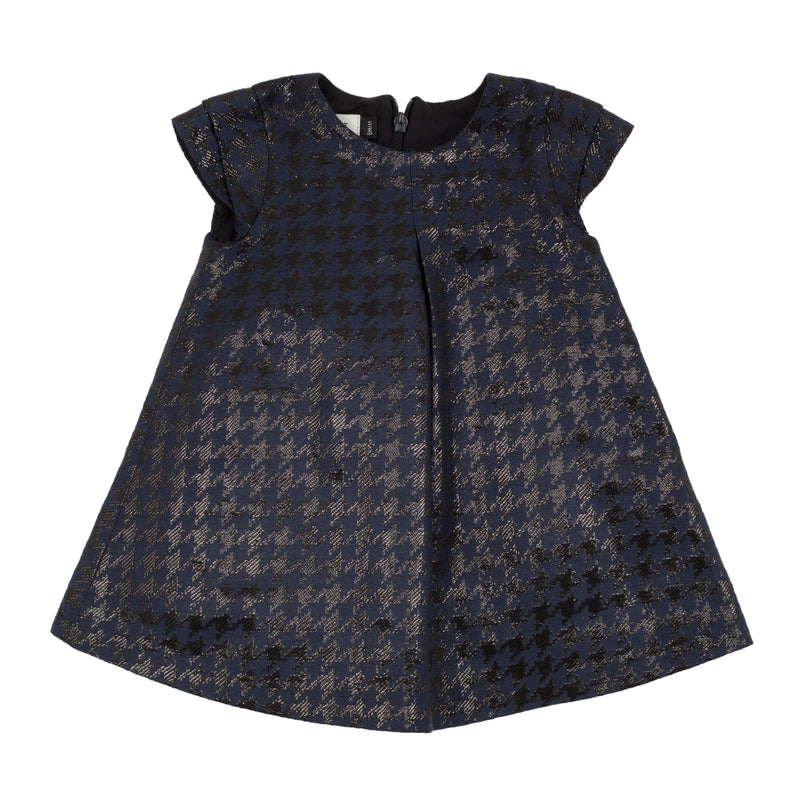 Jean Bourget black dress in polyester and cotton is decorated with a houndstooth pattern woven jacquard moiré.