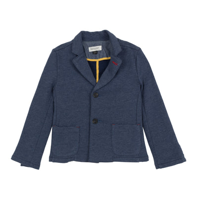 Jean Bourget denim blue cotton blazer is soft and supple. Has welt flap pockets and two buttons in the front.