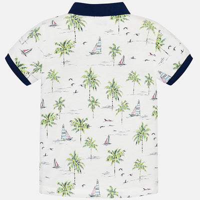 Boys Short Sleeved Patterned Polo Shirt