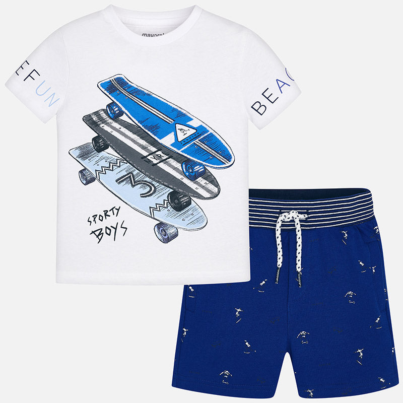 Boys Skateboard Printed Bermuda Short Set